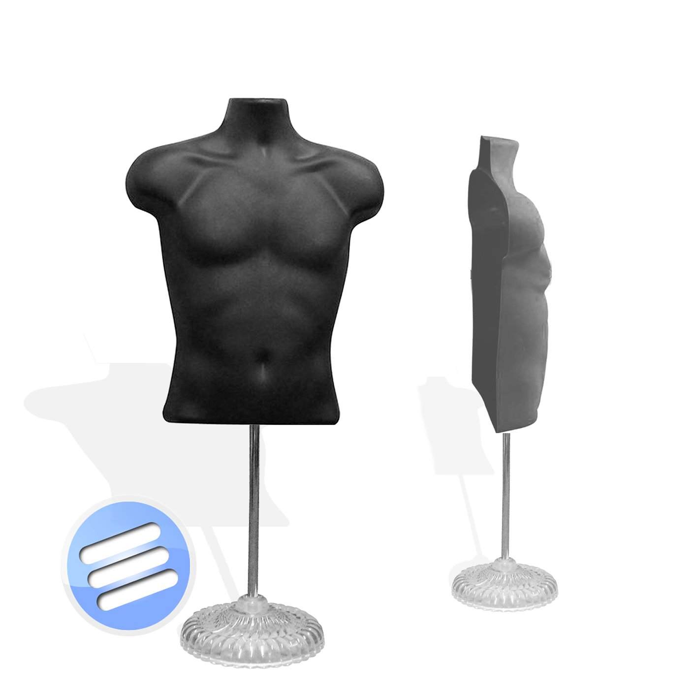 Half Male Body Form Torso Dummy Display Bust Mannequin wth Stand ...