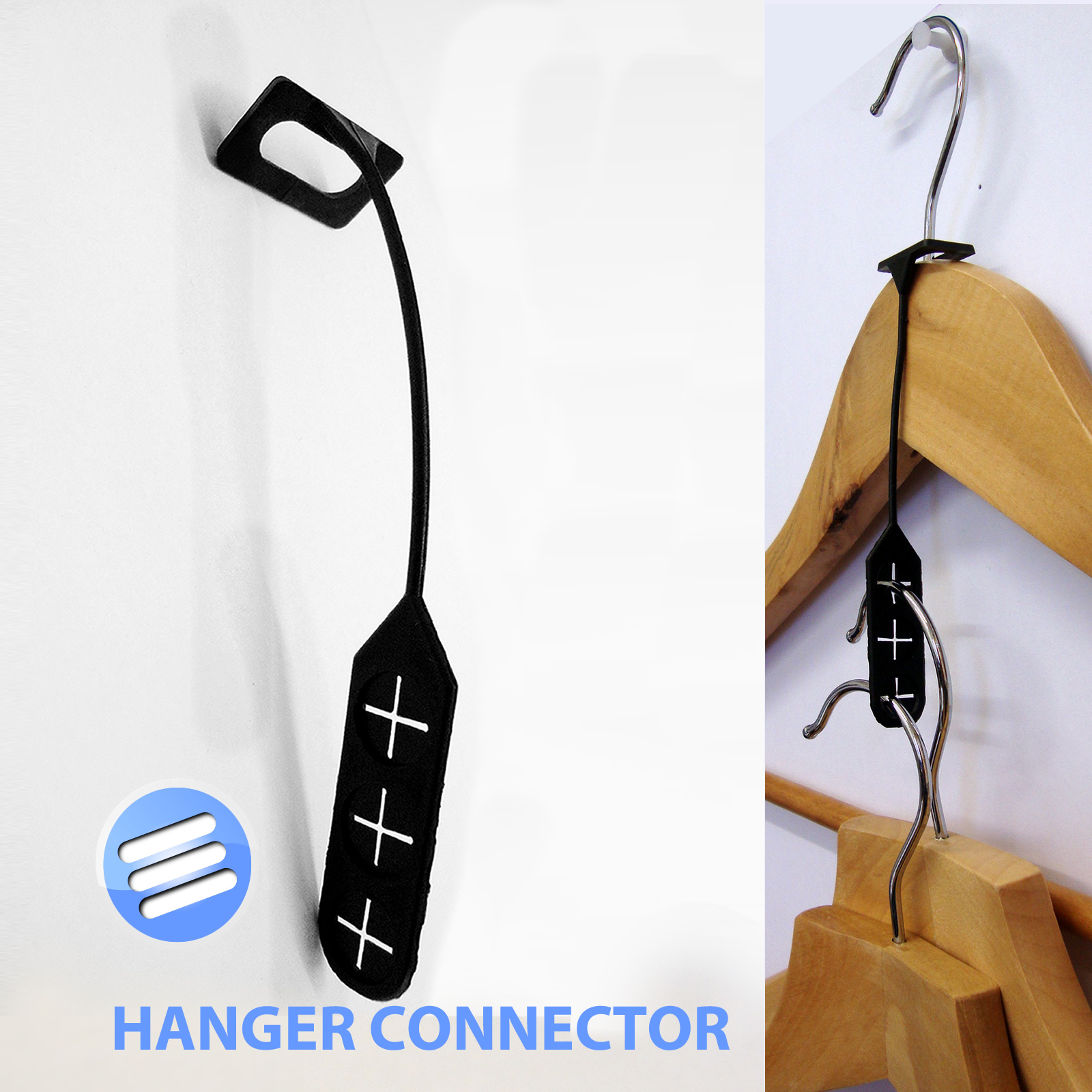 4 Space Saving Plastic Connector Connecting Hooks Coat
